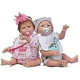 YJMP Twin Reborn Baby Doll, Boy/Girl, Muñeca de simulación de Silicona Mixta, Puede Sentarse y acostarse, Regalo para Ella y su Hijo,A+b