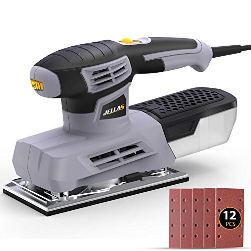 JELLAS Schwingschleifer, 220W Schleifmaschine, 12000 U/min Schleifer mit 6 Variabler Geschwindigkeit und Staubsammlung, Schleifbasis 90 * 187mm, 12 Stück Schleifpapier, Papierklemmmechanismus