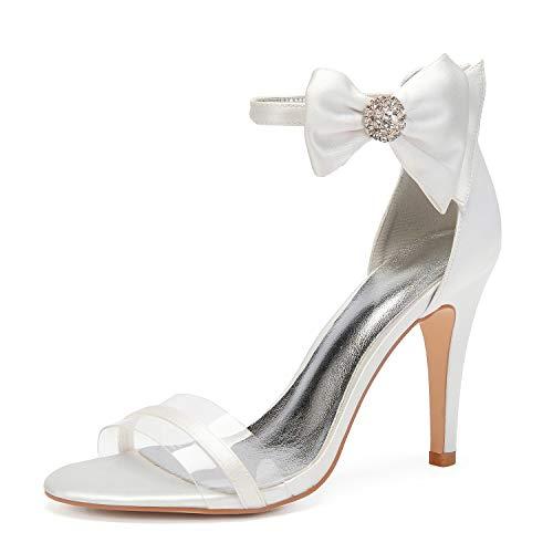 SDJQZ Zapato básico de satén para mujer, con correa en forma de T, correa para el tobillo, correa translúcida, punta redonda, diamantes de imitación, color blanco