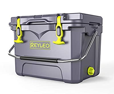 REYLEO Ice Chest | Portable Rotomolded Camping Cooler Keeps Ice Up to 5 Days | Bear-Resistant 21-Quart Cooler (Built-in Bottle Opener, Cup Holder, Fish Ruler) for Camping, BBQs, Tailgating, Fishing