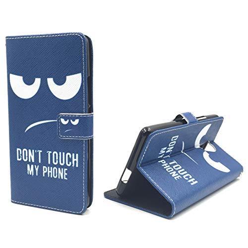 König Design Handyhülle Kompatibel mit Wiko Robby Handytasche Schutzhülle Tasche Flip Hülle mit Kreditkartenfächern - Don't Touch My Phone Weiß Dunkelblau