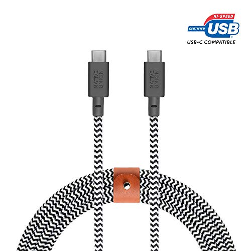 Native Union BELT Kabel USB-C naar USB-C - 8ft Ultra-Strong Kabel met Lederen Band voor Samsung Galaxy Note 9 / S9, Sony XZ, LG V20 / G7, HTC 10 / U12+, Google Pixel 2/3 en meer (Zebra)