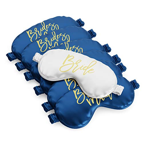 Bride & Bridesmaid Sleep Mask Set of 7 | Bachelorette Party Sleep Mask | Bride Tribe Eye Mask | Bridesmaid Proposal Box & Bridesmaid Gifts | Bachelorette Party Games & Favors (Navy Blue)