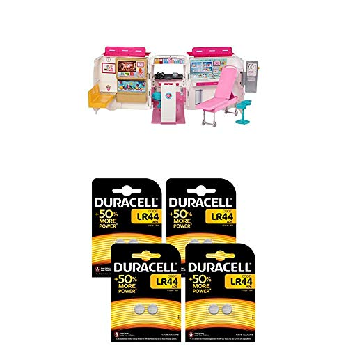 Barbie Lot Véhicule Médical, Voiture Ambulance Transformable en hôpital, Jouet pour Enfant + Pile Bouton alcaline Duracell spéciale LR44, 8 Piles