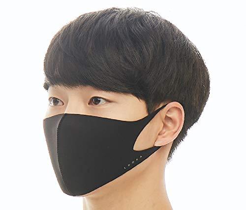 【LOOKA ルカ】デザイン マスク Lサイズ Mサイズ Sサイズ 男女兼用 (BLACK) M