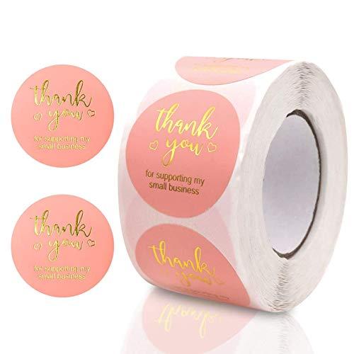 500 Pcs Etiquetas Gracias, Thank You Stickers, Gracias Rollo de Pegatinas, Pegatinas Gracias para Botellas Regalo Bolsa Recuerdo Boda Fiesta Aniversario Cumpleaños(Rosa)