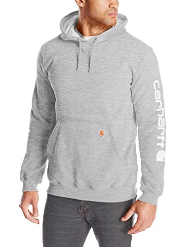 Carhartt Men's Midweight Sleeve Logo Hooded Sweatshirt (Regular and Big & Tall Sizes), Heather Grey, X-Large
