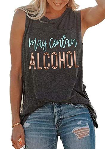 SUNFLYLIG Summer Hawaiian Tank Tops for Women Fun Cute Drinking Sleeveless Letter Graphic T Shirt Country Music Vest Tees (Medium, Grey)