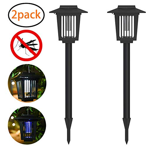 Tukear 2Pcs Solar Powered Bug Zapper LED Mosquito Light Insect Pest Killer Lamp for Indoor Outdoor Use