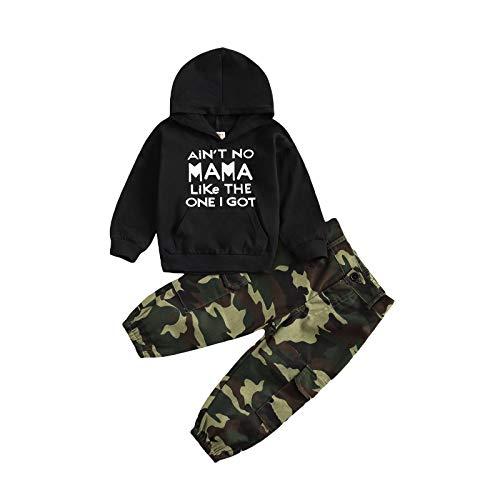 Conjunto de ropa para bebé niño con estampado de letras y sudadera de manga larga con pantalones de camuflaje para primavera e invierno