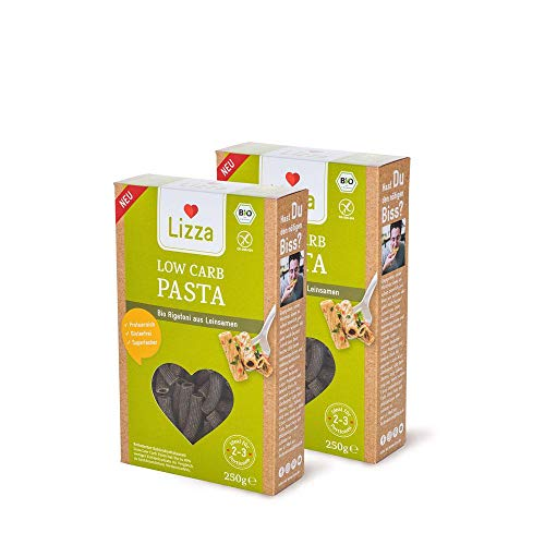 Lizza Low Carb Pasta | Organic. Gluten Free. | 2X 250g Filled with Protein & Fast-saturating | for Keto, Low Carb and Building Lean Muscle | Makes a Great Choice for Diabetics
