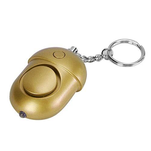 Alarma de 130Db con Sonido de autodefensa, Alarma de Seguridad Personal de Estilo pequeño y portátil para iluminar en la Noche Oscura, práctica de Usar(Golden)