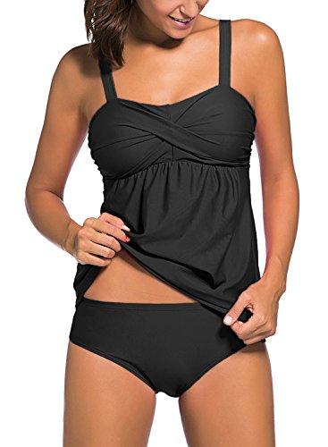 HOTAPEI Damen Elegant Tankini Sets Gepolstert Kissen Bademode Bauchweg Zweiteilige Swimsuit mit Tankini Bottom Schwarz L Größe 44/46