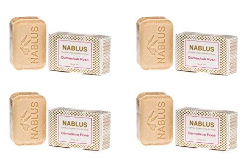 4er Set - Nablus Soap, Sorte: Damaskus Rose, handgemacht und palmölfrei, 4x100g