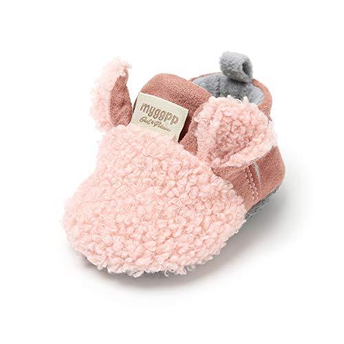 LACOFIA Baby Jungen Mädchen Warme Winterschuhe Kleinkind rutschfest Weiche Sohle Krabbelschuhe Rosa 12-18 Monate