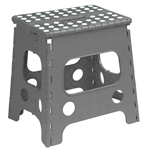Superior Performance Folding Step Stool 15 Inch with Anti Slip Dots (Grey) Space Saving Stool with a Built in Handle for Easy Carry Sturdy Step Stool