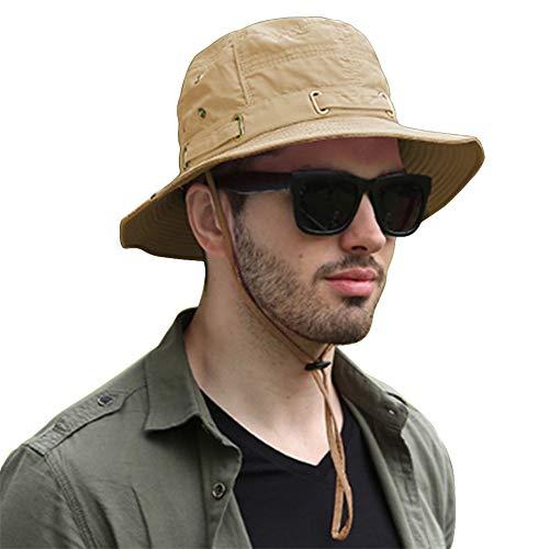 SIYWINA Hombres Sombrero de Pescador deAncha Borde Redondo Anti-UV Som