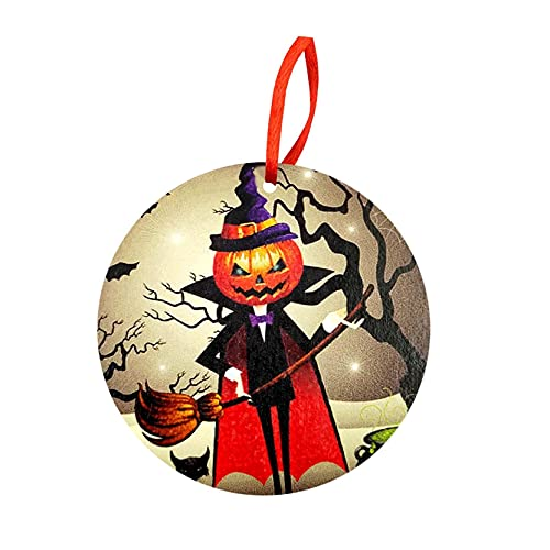 JLKDF Colgante de Madera Redondo de Halloween Adornos Colgantes de Madera de Halloween Listado Divertido de Vacaciones para Mesa Decoración de Puerta Delantera de Halloween