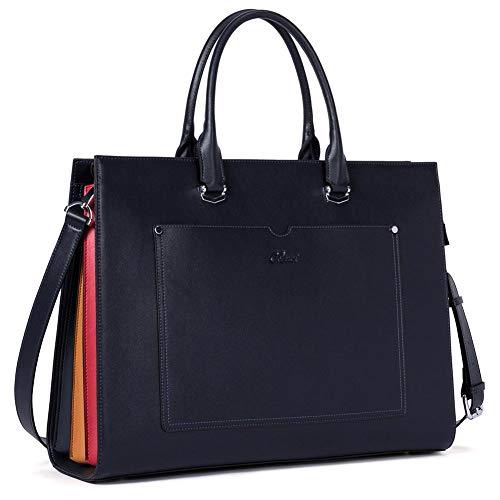 Aktentasche für Frauen Leder Schlank Damen Aktenkoffer Business Arbeitstasche passen 15.6 Zoll Laptop Dunkelblau