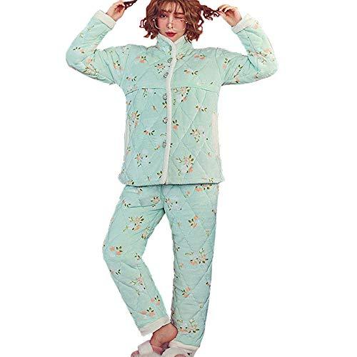 Pyjamas pour Femmes Enceintes, épaississement Hivernal et Velours 3 Couches de Pyjamas matelassés, courtepointes en Coton Automne et Hiver vêtements d'allaitement Post-Partum