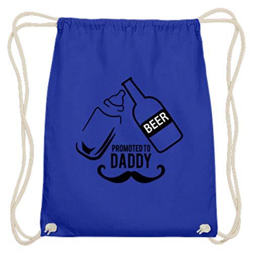 Generic Promoted To Daddy. Beer. - Vater, Papa, Papi, Bier, Alkohol, Fest, Feier, Trinken, Baby - Baumwoll Gymsac -37cm-46cm-Royales Blau