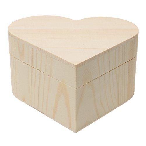 Welim - Caja de madera con forma de corazón, caja de almacenamiento, caja de madera, caja de madera lisa, caja de madera para joyería