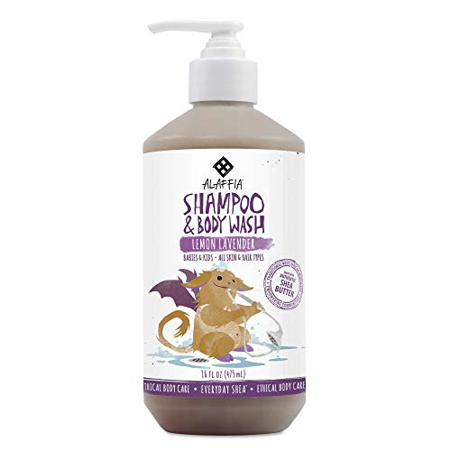 Alaffia - Everyday Shea Shampoo and Body Wash, Babies and Kids, Gentle and Calming Support for Soft Hair and Skin with Shea Butter, Neem, and Coconut Oil, Fair Trade, Lemon Lavender, 16 Ounces (FFP)