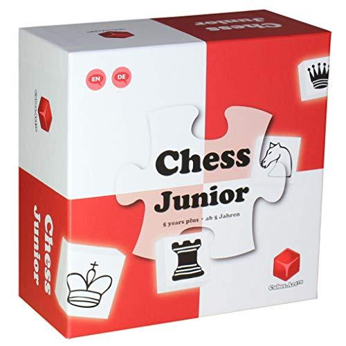 Chess Junior ‒ Das Schachspiel für Kinder, Schachsteine aus Holz, mit Eltern-Kind Anleitung, Rot [deutsch]