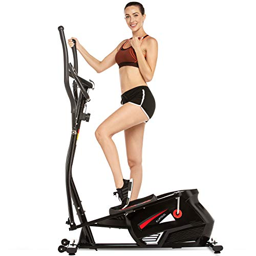FUNMILY Magnetic Elliptical Machine, Quiet & Smooth Driven Elliptical Cross Trainer Machine with 10 Levels Resistance and 35lb Flywheel, Best Indoor Exercise Machine Trainer for Home GymWorkout