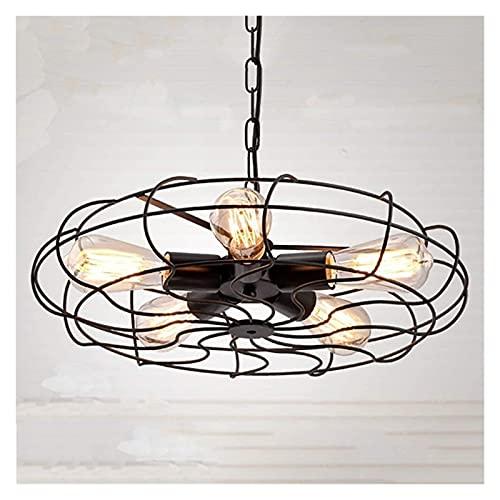 Dightyoho Lámpara de Techo Country Loft Industrial Viento Ventilador de múltiples Cabezales luz Hierro Forjado Negro * 5 Fuente de luz lámpara de iluminación Retro