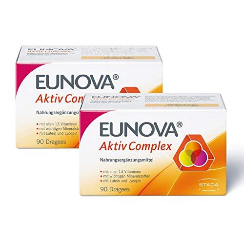 Eunova EUNOVA AktivComplex - 2x Nahrungsergänzungsmittel für die Basisversorgung mit allen 13 Vitaminen, Mineralstoffen, Lutein und Lycopin - 2 x 90 Dragees 100 g