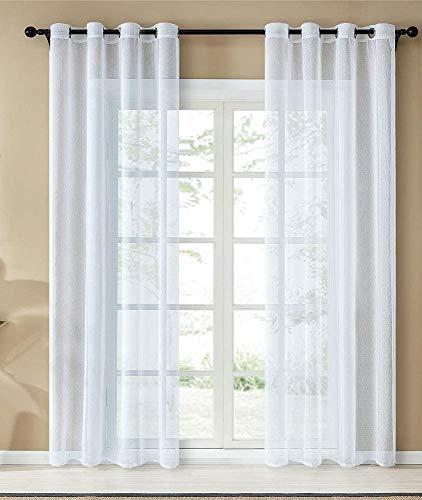 HOME TREND PARIS Lot de 2 Rideaux Voilage 140x260 cm à Oeillets Voilage Fenêtre Transparent pour Salon Voilage Grande Largeur Décor Cuisine Chambre Enfant (Blanc)