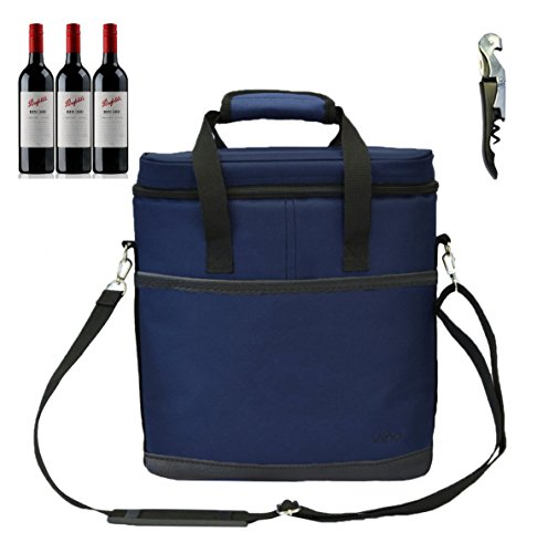 Vina 3 Bottle Wine Carrier - Travel Picnic Insulated Wine Cooler Tote Bag Case with Shoulder Strap for Beer and Champagne + Free Corkscrew, Blue