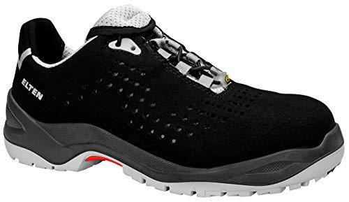 ELTEN Sicherheitsschuhe IMPULSE grey Low ESD S1, Herren, sportlich, leicht, schwarz/grau, Kunststoffkappe - Größe 43