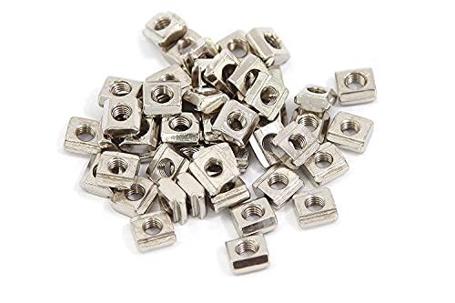 Weissmann 50x Nutensteine Nut6, für 6mm Profile, Gewinde M5 (EUR-Typ: 20) für Aluminiumprofile Systemprofile, für stabile Befestigungen