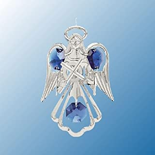 Hanging Sun Catcher or Ornament..... Angel Holding Cross With Blue Swarovski Austrian Crystals