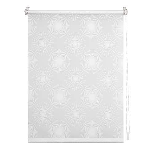 Lichtblick RKT.080.150.101 Rollo Klemmfix, ohne Bohren, Blickdicht - Ausbrenner Weiß Sonne, 80 cm x 150 cm (B x L)