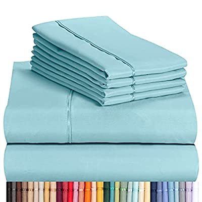 """LuxClub 6 PC Sheet Set Bamboo Sheets Deep Pockets 18"""" Eco Friendly Wrinkle Free Sheets Hypoallergenic Anti-Bacteria Machine Washable Hotel Bedding Silky Soft - Aqua Queen"""
