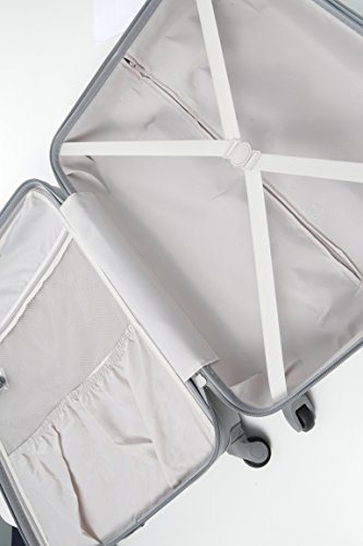 Aerolite Aerolite Leichtgewicht ABS Hartschale 4 Rollen Trolley Koffer Reisekoffer Hartschalenkoffer Rollkoffer Gepäck, 69cm, Silber