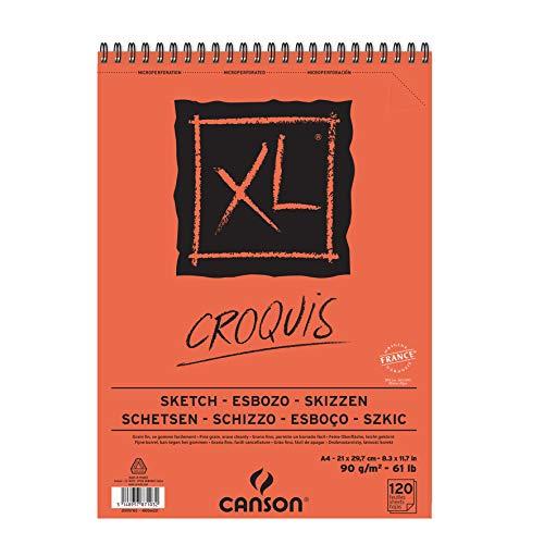 Álbum Espiral Microperforado, A4, 120 Hojas, Canson XL Croquis, Grano Fino 90g
