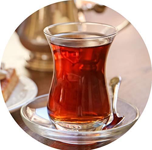 Topkapi - 18-tlg Türkisches Tee-Set Jasmin-Sultan mit Optik Effekt, 6 Teegläser, 6 Untersetzer, 6 Teelöffel, Komplett-Set für 6 Personen