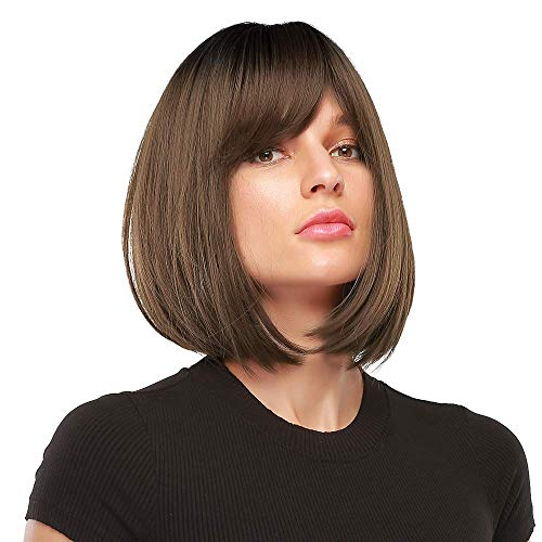 MORICA Short Bob Wig with Bangs Ombre Brown Wig with Dark Brown Roots Straight Bob Synthetic Wig for Women Heat Resistant Side Part Wigs 14 Inches for Party Daily Wear)