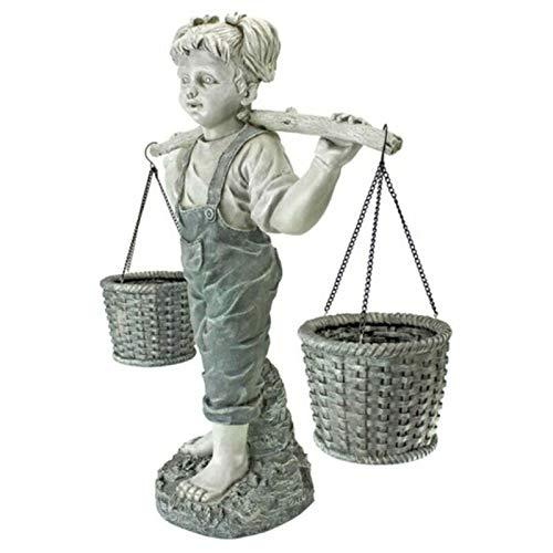 lefeindgdi - Statua da giardino con scritta 'Little Girl', con motivo a fiori per bambina felicity, statuetta da giardino in pietra bicolore