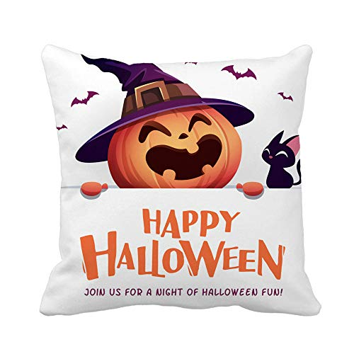 Rurpali 18x18 Inch Throw Pillow Cover Happy Halloween Jack O Lantern Pumpkin Witch Hat with Big Signboard Home Decor Pillowcase Square Pillow Case Cushion Cover for Sofa Bed