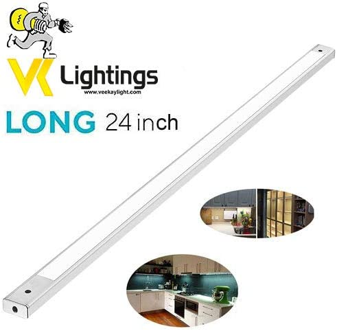 VEEKAYLIGHT 24 Inch Under Cabinet Lighting 6000K - Under Counter Lighting and Under Cabinet LED Profile Light - White