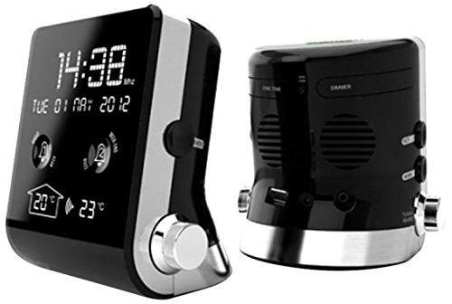 Thomson CT390 Kompakter Radiowecker mit FM RDS Tuner, digitaler Anzeige, autom. Zeiteinstellung, Dual-Alarm, USB-Lader, MP3 kompatibel, schwarz