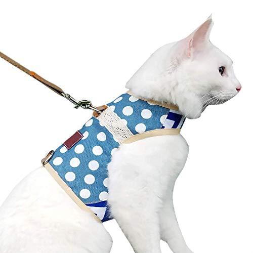 Anjing Arnés para gatos a prueba de escape con correa, tamaño mediano, ajustable, chaleco acolchado para gatos con lunares, color azul