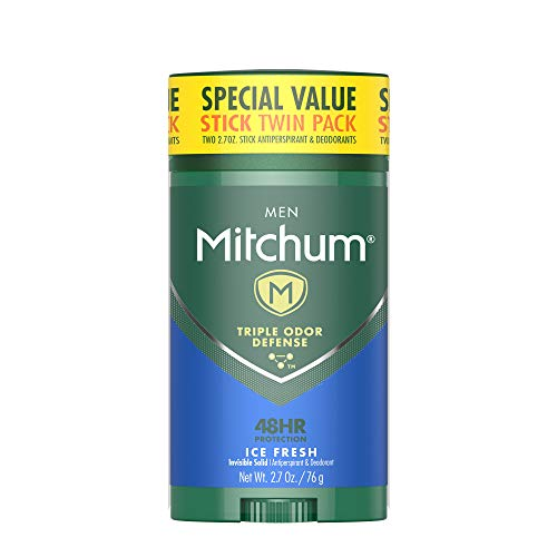 Mitchum Antiperspirant Deodorant Stick for Men, Triple Odor Defense Invisible Solid, 48 Hr Protection, Dermatologist Tested, Ice Fresh, 2.7 oz (pack of 2)