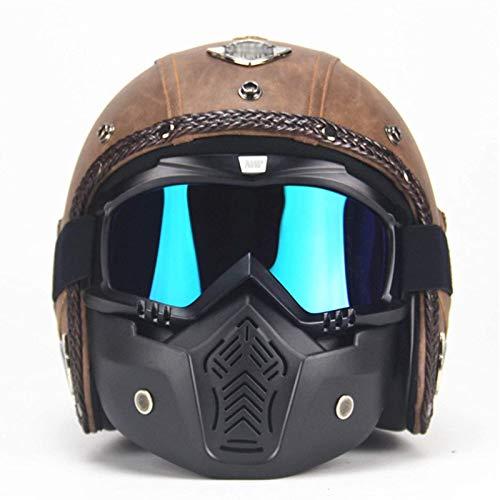 OUUUKL Casco integral para motocross, casco con máscara de gafas, casco de motocross para adultos, conjunto de casco de protección para hombres y mujeres, aprobado por la ECE (marrón)