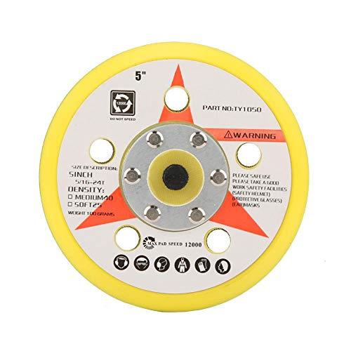 Almohadillas de lijado, máquina de pulir de disco autoadhesiva neumática Pulidora de papel de lija Placa de almohadilla de pulido(5 inch 5 holes)
